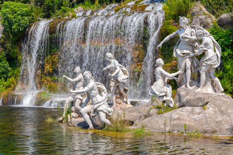mythological statues of nymphs women in the garden Royal Palace of Caserta