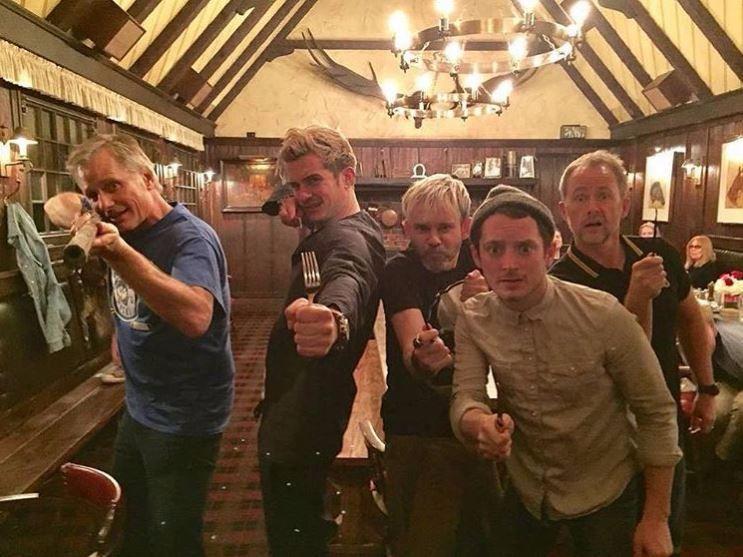 Orlando Bloom, Elijah Wood, Viggo Mortensen, Dominic Monaghan e Billy Boyd